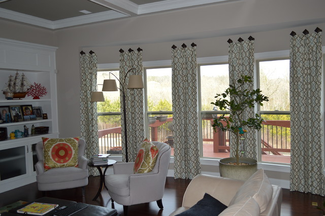 large bay window drapes on medallions, cumming ga - contemporary