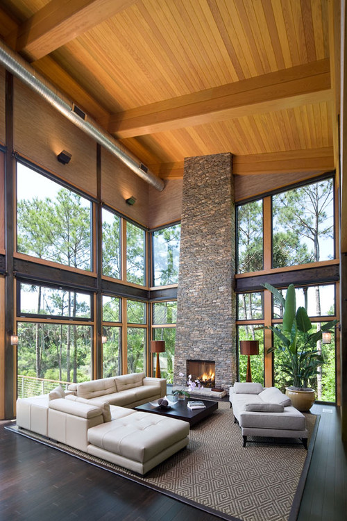 Large glass area focuses view to lagoon. contemporary living room