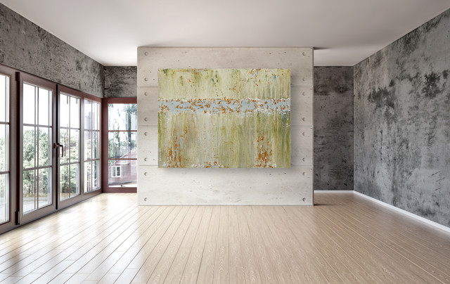 Large Modern Abstract Painting In Green And Orange Living