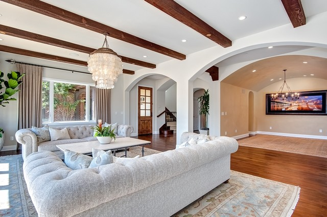 Large Salon Connects To To Entry And Barrel Ceiling Dining Room  Mediterranean Living Room