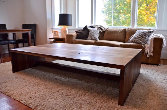 Large walnut coffee table modern living room