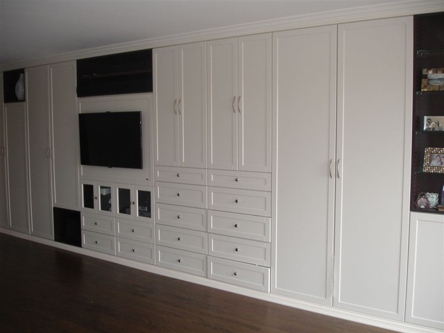 Large White Built In Closet Traditional Living Room