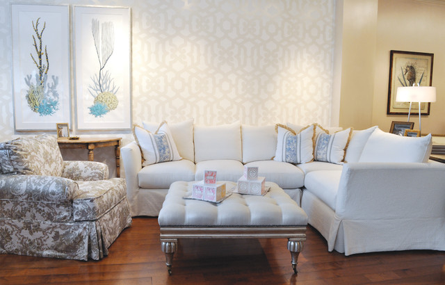 Large White Slipcovered Sectional Beach Style Living Room