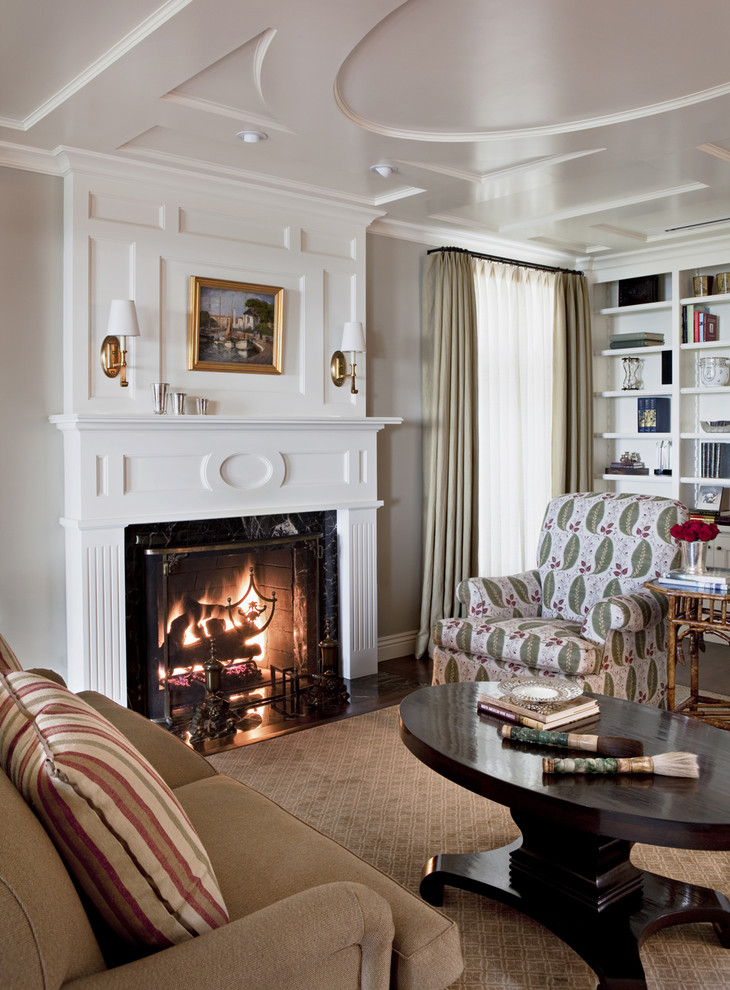Living room - traditional living room idea in Los Angeles with white walls and a standard fireplace