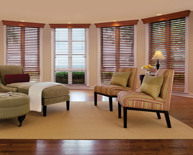 Living Room Window Treatments Alluring With Window Treatments with Wood Blinds Image