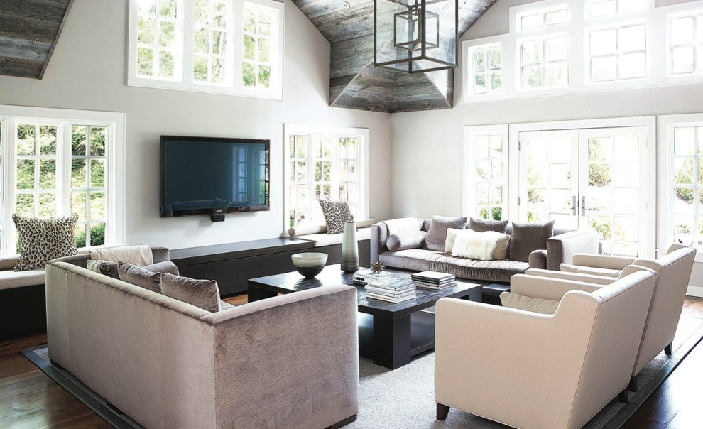 Living room - transitional open concept living room idea in New York