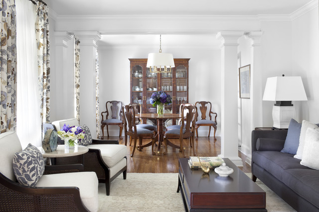 Inspiration for a timeless enclosed living room remodel in Atlanta with  white walls. Living Dining Room Combo   Houzz