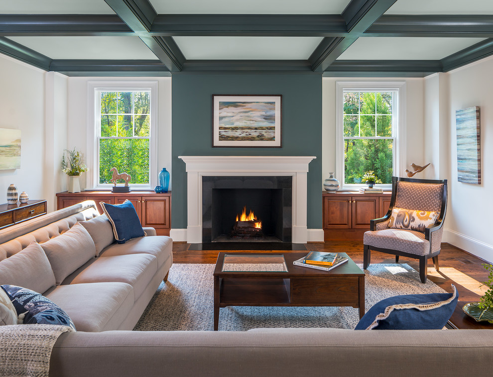 Living room - large traditional open concept dark wood floor and brown floor living room idea in DC Metro with green walls, a standard fireplace and a stone fireplace