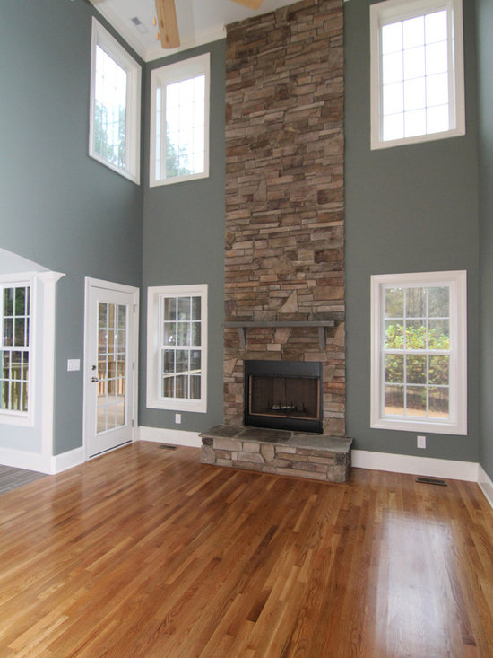 two story stone fireplace home design ideas pictures