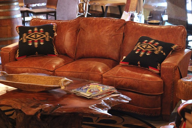 Leather And Hair On Hide Sofa Rustic Living Room