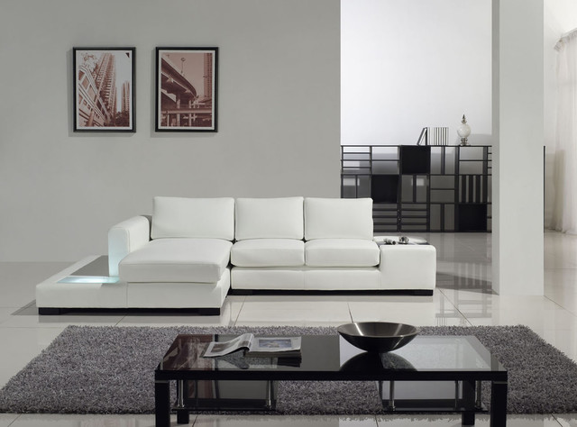 Leather Modern White Leather Compact Sectional Sofa Modern Living Room