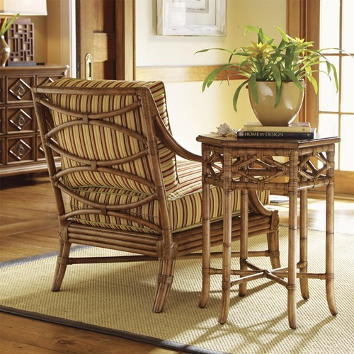 Leather Wrapped Bent Rattan Hexagonal Coral Springs Accent Table