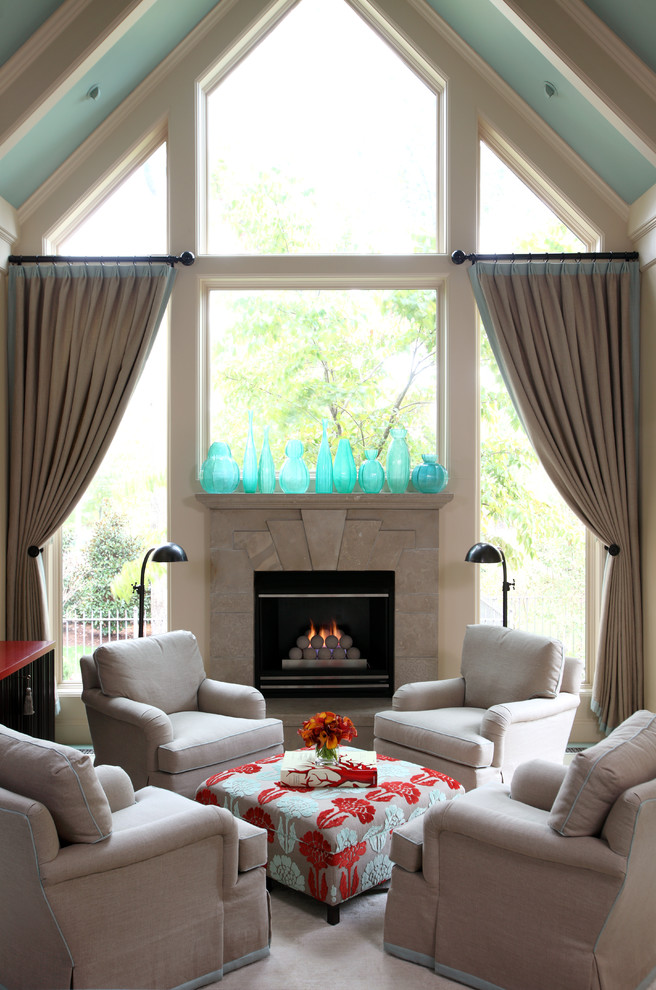 Living room - mid-sized traditional open concept carpeted and beige floor living room idea in Little Rock with a standard fireplace, beige walls and a stone fireplace