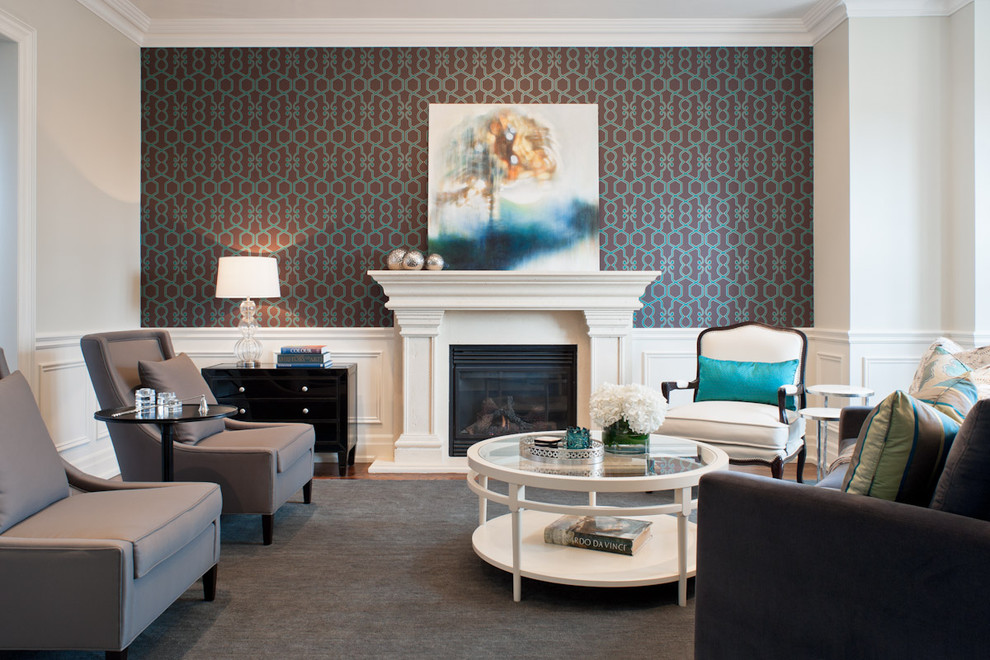 Example of a trendy living room design in Toronto with multicolored walls and a standard fireplace
