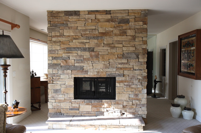Ledge Stone Dry Stack Stone Fireplaces traditional-living-room