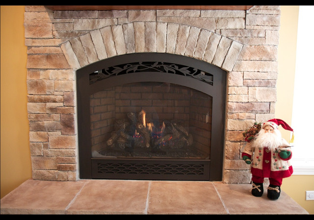 Ledge Stone Dry Stack Stone Fireplaces Traditional Living Room