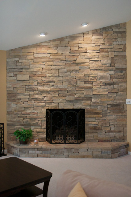 Dry Stack Stone Wall Living Room