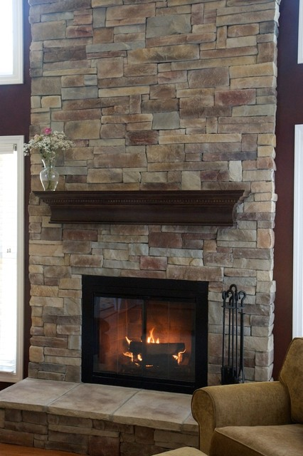 Ledge Stone Fireplaces Album 1 - Traditional - Living Room - Chicago ...