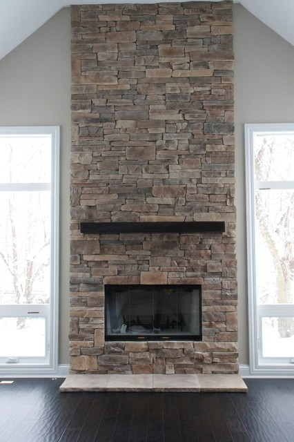 Ledge Stone Fireplaces Album 2 traditional-living-room