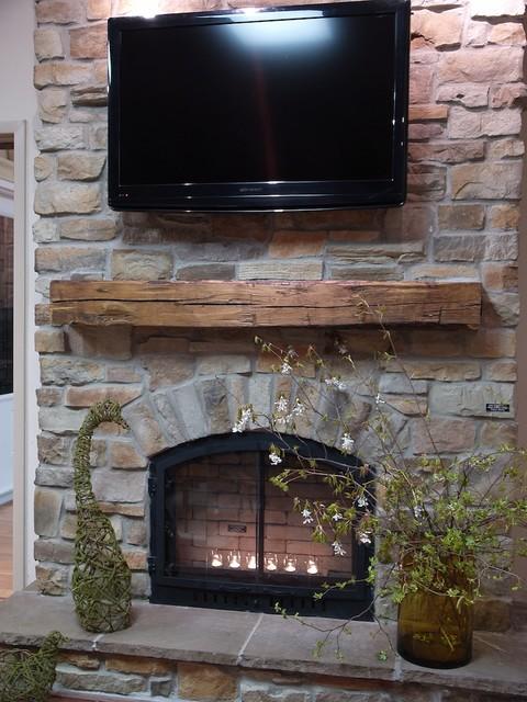 Ledge Stone Veneer Interior Fireplaces Contemporary Living Room