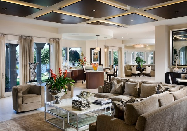 Leighton Residence - Modern - Living Room - Miami - by W.A. Bentz Construction, Inc.