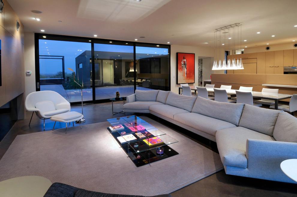 Trendy open concept living room photo in Phoenix