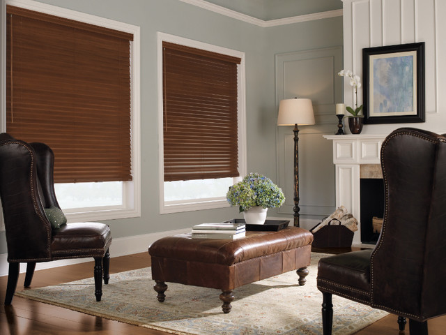 Levolor 2 premium wood blinds from - Living room picture window treatments ...