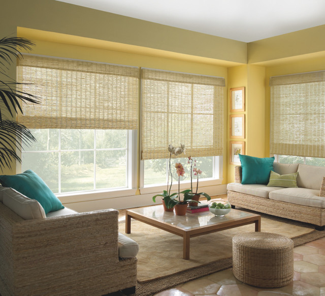wood shades from eclectic living room by