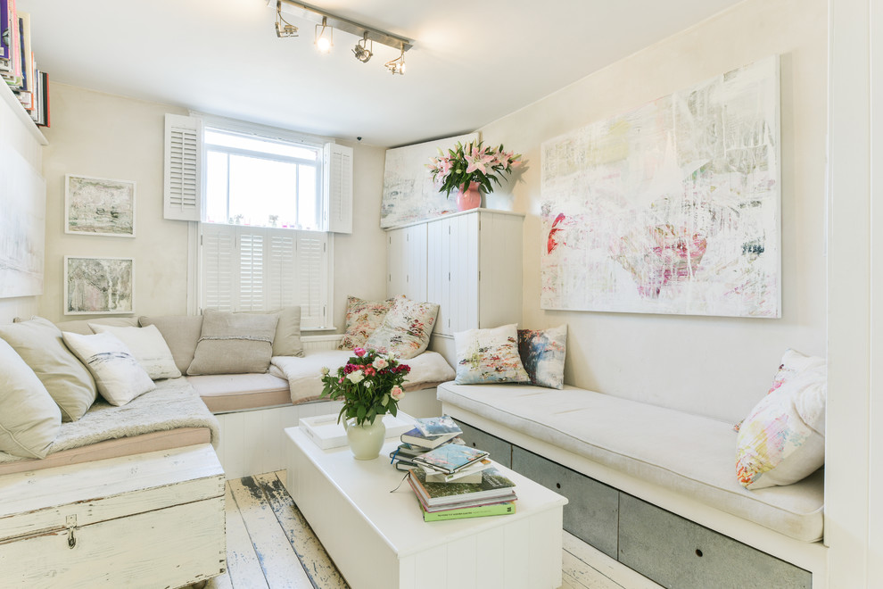 Living room - small shabby-chic style formal and enclosed painted wood floor and white floor living room idea in Sussex with no tv and beige walls
