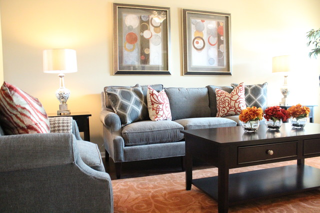 Orange Crush Contemporary Living Room Kansas City By Refined Interior Staging Solutions
