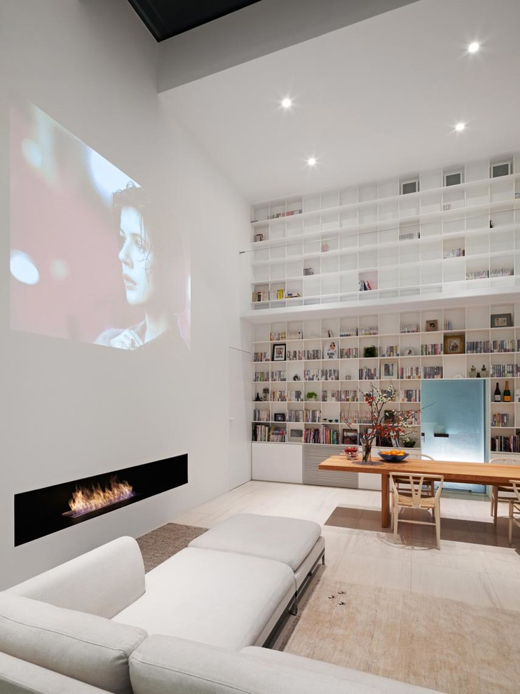Living room - contemporary open concept beige floor living room idea in Tokyo Suburbs with white walls, a ribbon fireplace and a concealed tv