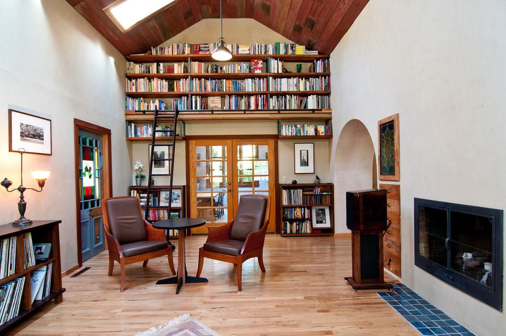Elegant living room library photo in Portland