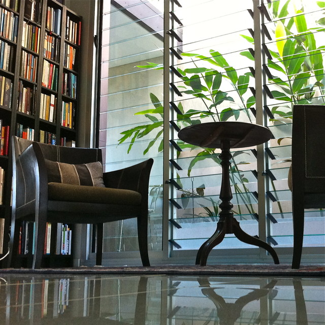 library reading nook modern-living-room