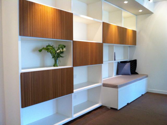 Library Reading Nook Laminate And Teak Veneer Modern Living Room