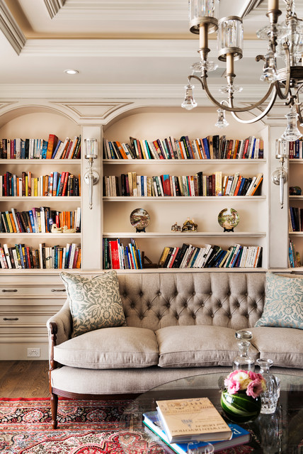 Library room grand design traditional living room for Library living room ideas
