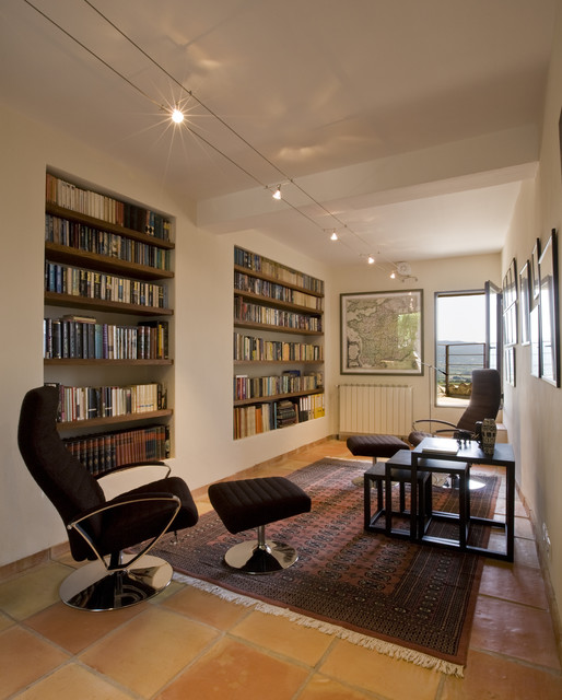 Library with recessed bookshelves mediterranean living for Living room ideas with bookshelves