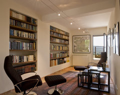 Library with Recessed Bookshelves mediterranean-living-room