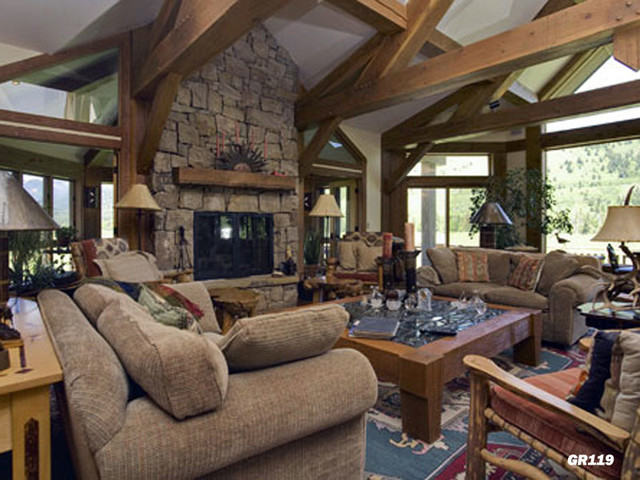 Lifestyles log home great room designs rustic living for Rustic great room