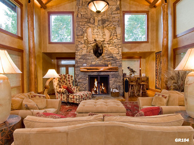 Lifestyles log home great room designs rustic living for Great room home designs