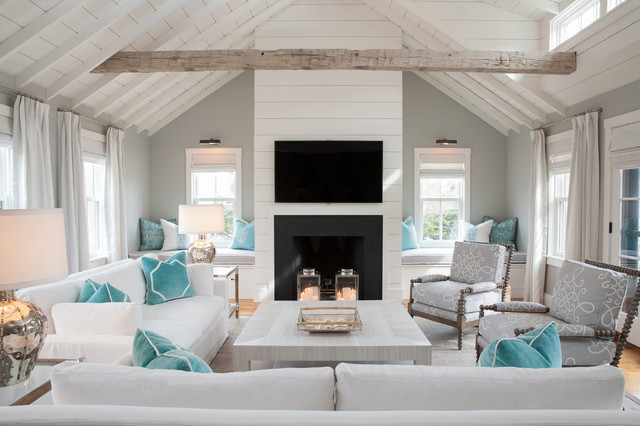 beach style living rooms. Light and bright while honoring gray beach style living room