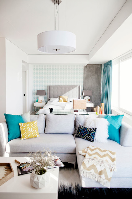 Light + Bright Bachelorette Loft- transitional-living-room