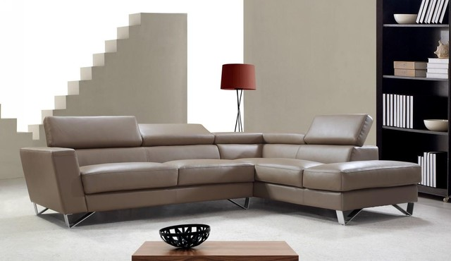 Light Brown Leather Sectional Sofa With Adjule Backrests Modern Living Room