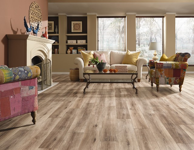 Light Laminate Flooring Mannington Restoration Collection Eclectic Living Room Salt