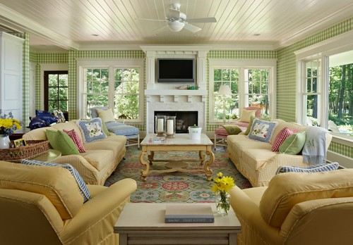 Traditional Living Room By Harbor Springs Interior Designers U0026 Decorators  Cottage Company Interiors 1. Cool And Crisp. Green And White Check  Wallpaper, ...