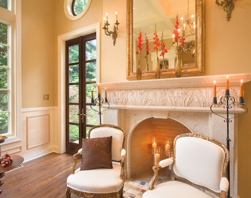 Limestone Fireplace traditional-indoor-fireplaces