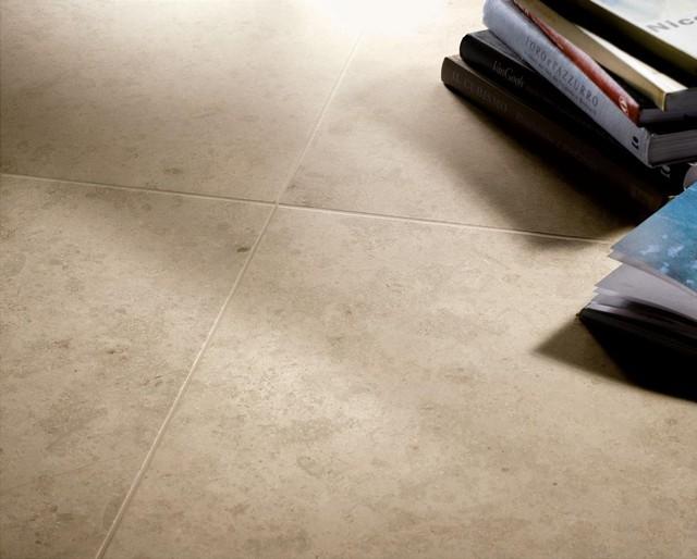 limestone look porcelain tile - contemporary - living room