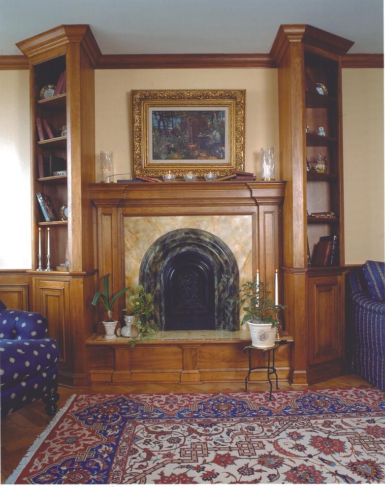 Mid-sized elegant formal and enclosed medium tone wood floor living room photo in New York