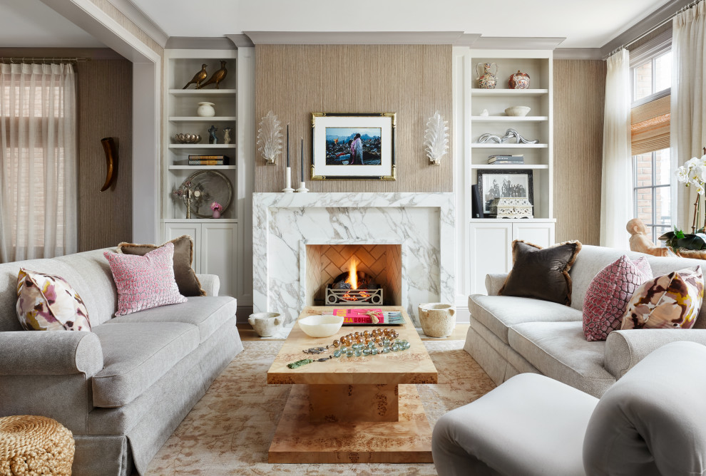 Mid-sized transitional formal and open concept light wood floor and beige floor living room photo in Chicago with beige walls, a standard fireplace, a stone fireplace and no tv