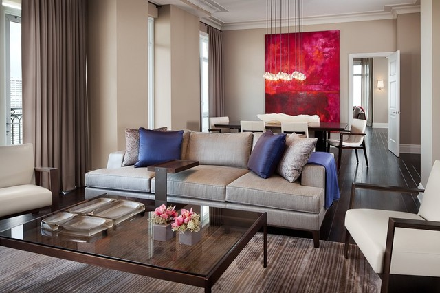 Lincoln Park Luxury High Rise Model Apartments  Designed by Holly Hunt Interiors contemporary-living-room