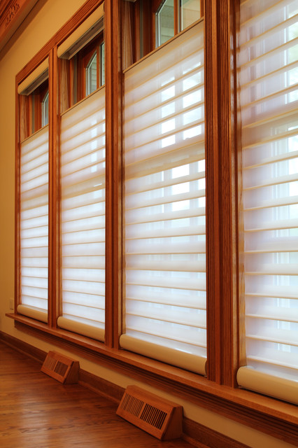 Lincolnwood silhouette top down bottom up shades - Houzz window treatments living room ...